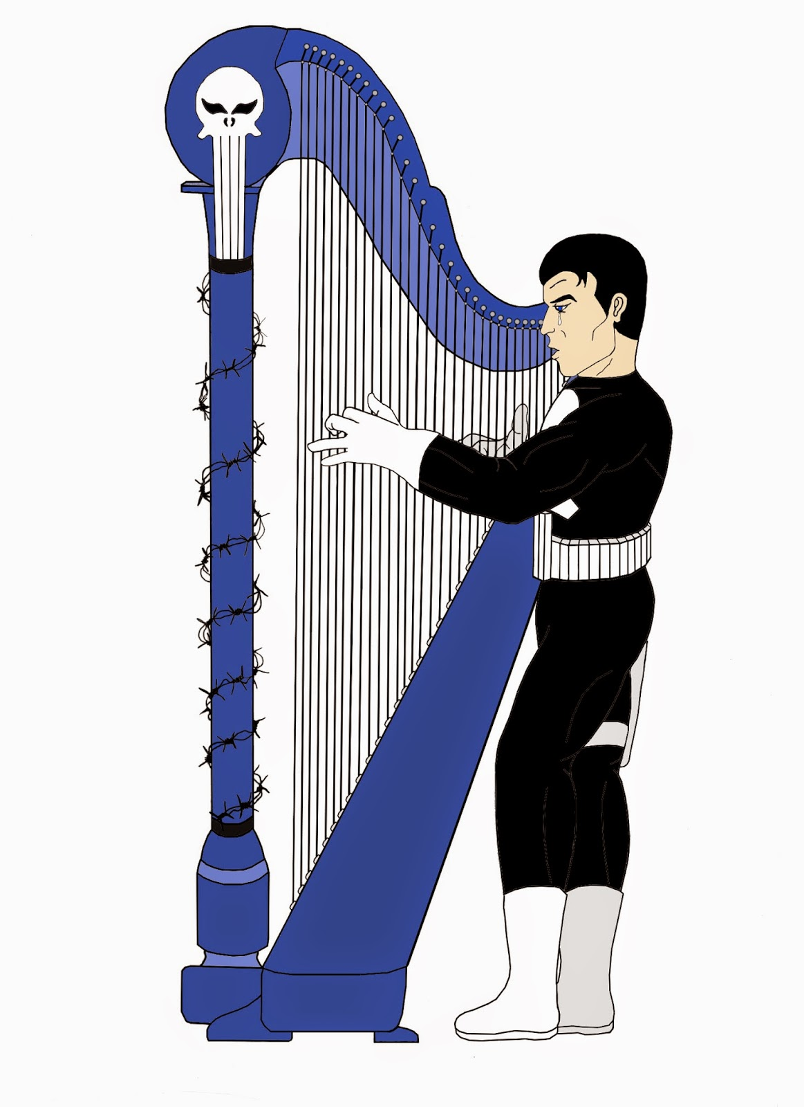 Classic Punisher playing the harp.