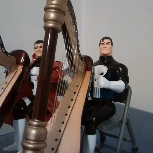 The Electronic Talking Punisher on the harp.
