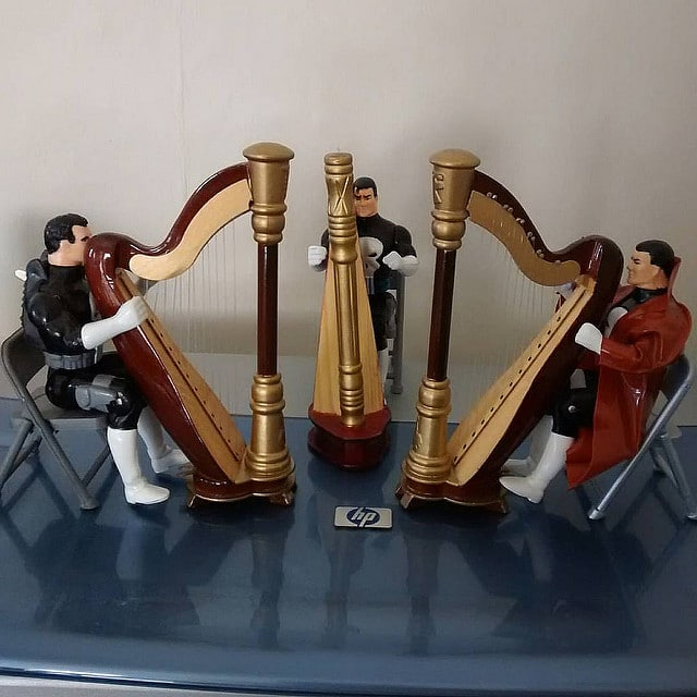 Three Toy Biz Punishers in Harp Practice Session.