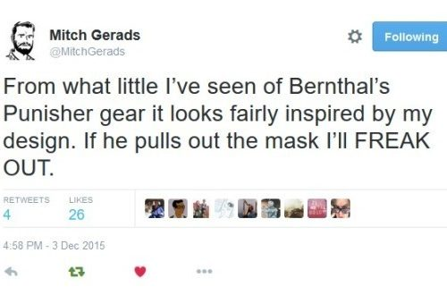 Awesome tweet from Mitch Gerads illustrator of the Edmondson Punisher run.
