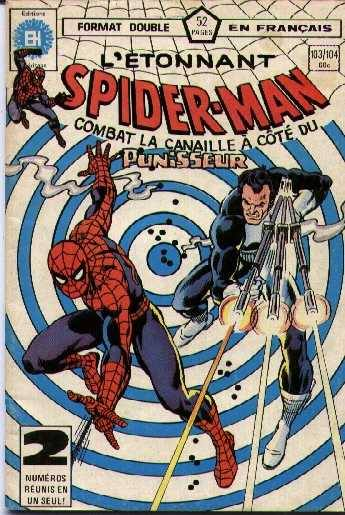 Spiderman and The Punisher comic in French.