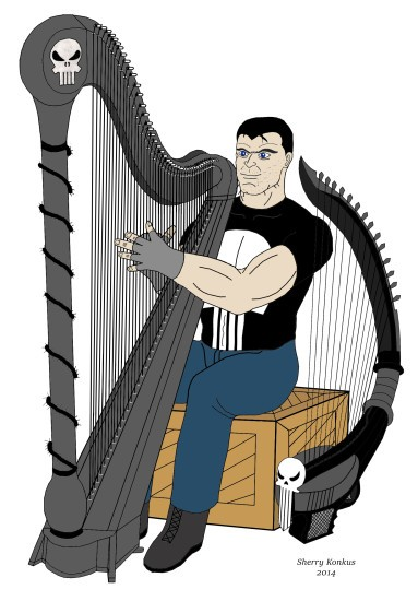 The Punisher and his harps.