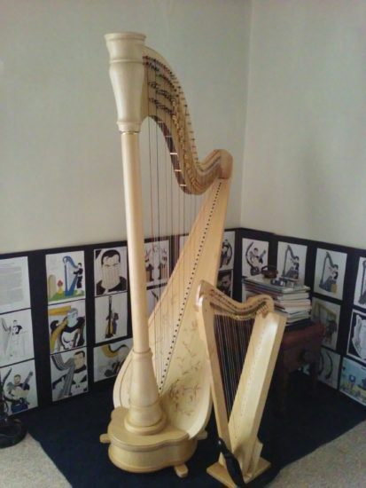 Grover with Curtis, my harpsicle harp.