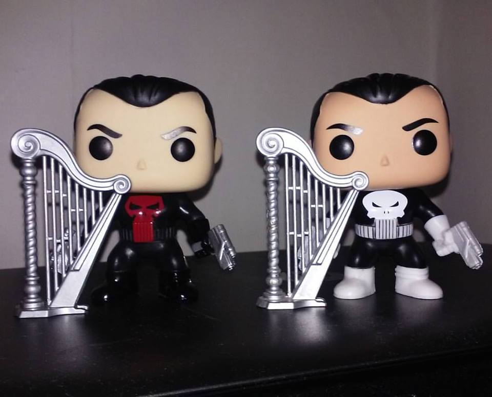 Funko Pop Punishers and their silver harps.