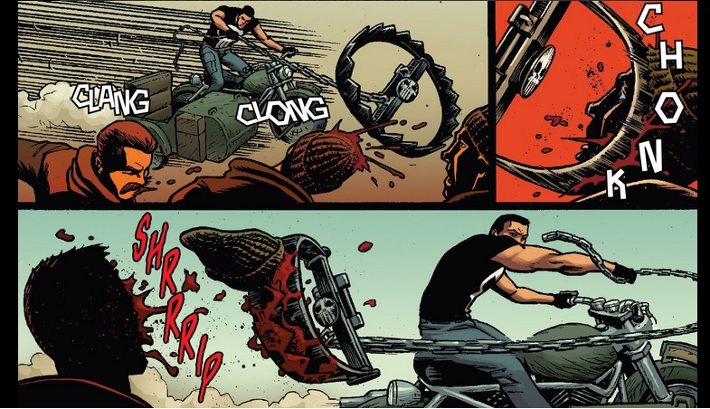 Who knew that a chain and a bear trap can make great lethal weapons against a bunch of thugs? From Punisher #10