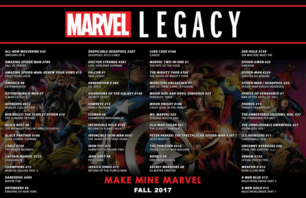 Marvel Legacy line up for the Fall of 2017.