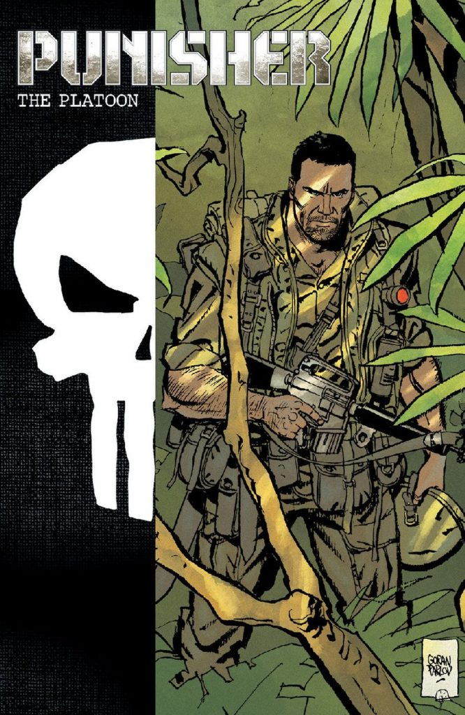 Cover variant to Punisher Max: The Platoon. Art by Goran Parlov.