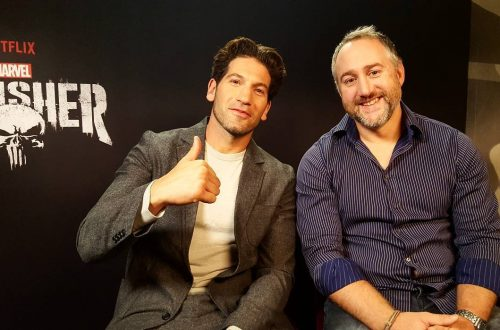 The Punisher (Jon Bernthal) and Steve Lightfoot in an interview to promote Marvel's The Punisher.