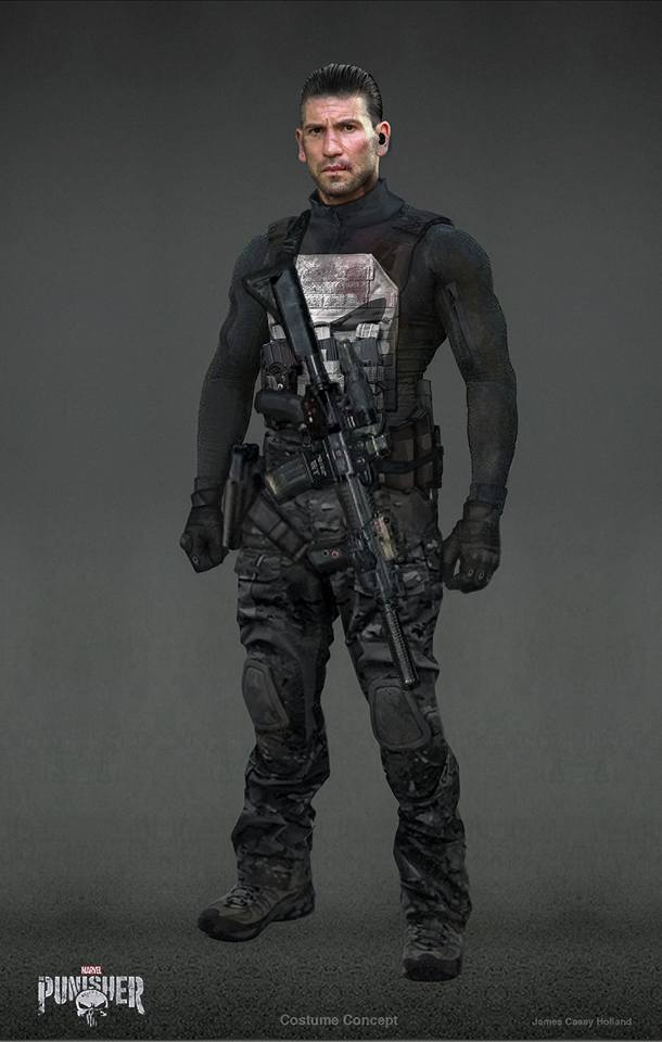 Different concept art with a machine gun strapped to Punisher's body.