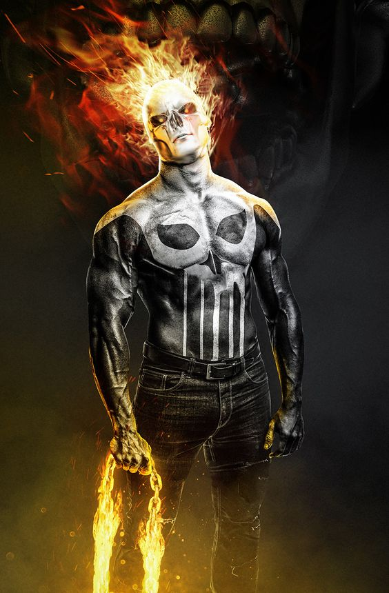 Punisher/Ghost Rider Mash-Up Art by BossLogic